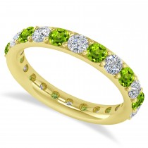 Diamond & Peridot Eternity Wedding Band 14k Yellow Gold (1.98ct)