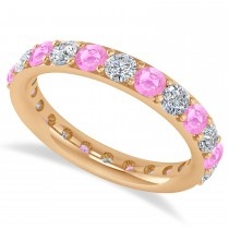 Diamond & Pink Sapphire Eternity Wedding Band 14k Rose Gold (2.00ct)