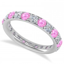 Diamond & Pink Sapphire Eternity Wedding Band 14k White Gold (1.98ct)