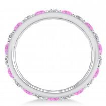 Diamond & Pink Sapphire Eternity Wedding Band 14k White Gold (2.00ct)
