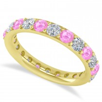 Diamond & Pink Sapphire Eternity Wedding Band 14k Yellow Gold (2.00ct)