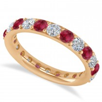 Diamond & Ruby Eternity Wedding Band 14k Rose Gold (2.00ct)