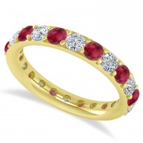 Diamond & Ruby Eternity Wedding Band 14k Yellow Gold (2.00ct)