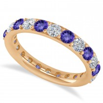 Diamond & Tanzanite Eternity Wedding Band 14k Rose Gold (1.98ct)