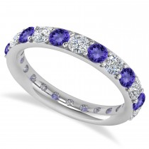 Diamond & Tanzanite Eternity Wedding Band 14k White Gold (1.98ct)