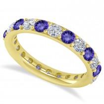 Diamond & Tanzanite Eternity Wedding Band 14k Yellow Gold (2.00ct)