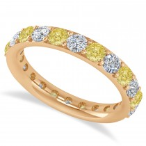Yellow & White Diamond Eternity Wedding Band 14k Rose Gold (2.00ct)