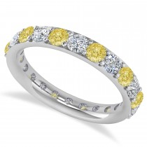 Yellow & White Diamond Eternity Wedding Band 14k White Gold (2.00ct)