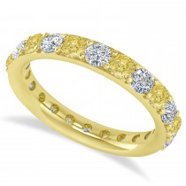 Yellow & White Diamond Eternity Wedding Band 14k Yellow Gold (2.00ct)