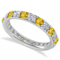 Diamond & Yellow Sapphire Eternity Wedding Band 14k White Gold (1.98ct)
