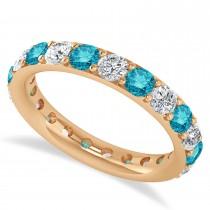 Blue Diamond Eternity Wedding Band 14k Rose Gold (2.10ct)