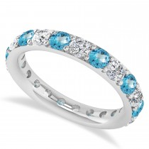 Diamond & Blue Topaz Eternity Wedding Band 14k White Gold (2.10ct)