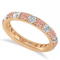 Diamond & Morganite Eternity Wedding Band 14k Rose Gold (2.10ct)