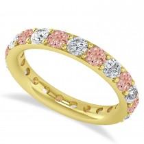 Diamond & Morganite Eternity Wedding Band 14k Yellow Gold (2.10ct)