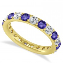 Diamond & Tanzanite Eternity Wedding Band 14k Yellow Gold (2.10ct)