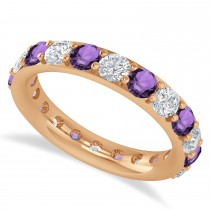Diamond & Amethyst Eternity Wedding Band 14k Rose Gold (2.50ct)