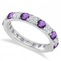Diamond & Amethyst Eternity Wedding Band 14k White Gold (2.50ct)