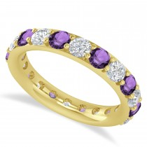 Diamond & Amethyst Eternity Wedding Band 14k Yellow Gold (2.50ct)