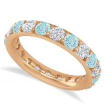 Diamond & Aquamarine Eternity Wedding Band 14k Rose Gold (2.50ct)