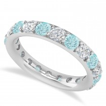 Diamond & Aquamarine Eternity Wedding Band 14k White Gold (2.50ct)