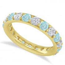 Diamond & Aquamarine Eternity Wedding Band 14k Yellow Gold (2.50ct)