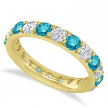 Blue & White Diamond Eternity Wedding Band 14k Yellow Gold (2.50ct)