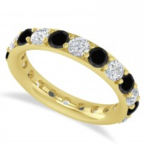 Black & White Diamond Eternity Wedding Band 14k Yellow Gold (2.50ct)