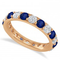 Diamond & Blue Sapphire Eternity Wedding Band 14k Rose Gold (2.50ct)