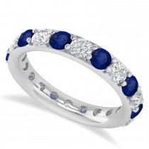 Diamond & Blue Sapphire Eternity Wedding Band 14k White Gold (2.50ct)