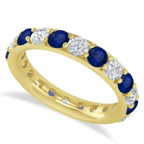 Diamond & Blue Sapphire Eternity Wedding Band 14k Yellow Gold (2.50ct)