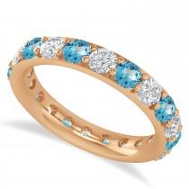 Diamond & Blue Topaz Eternity Wedding Band 14k Rose Gold (2.40ct)