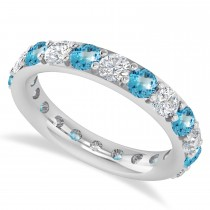 Diamond & Blue Topaz Eternity Wedding Band 14k White Gold (2.50ct)