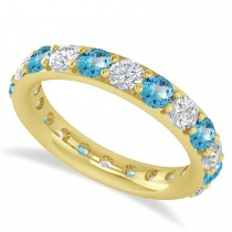 Diamond & Blue Topaz Eternity Wedding Band 14k Yellow Gold (2.50ct)