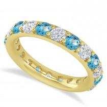Diamond & Blue Topaz Eternity Wedding Band 14k Yellow Gold (2.50ct)