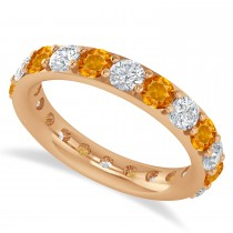 Diamond & Citrine Eternity Wedding Band 14k Rose Gold (2.50ct)
