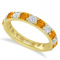 Diamond & Citrine Eternity Wedding Band 14k Yellow Gold (2.50ct)