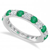 Diamond & Emerald Eternity Wedding Band 14k White Gold (2.50ct)