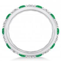 Diamond & Emerald Eternity Wedding Band 14k White Gold (2.50ct)