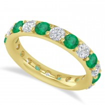 Diamond & Emerald Eternity Wedding Band 14k Yellow Gold (2.50ct)