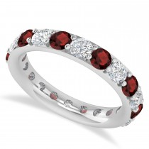 Diamond & Garnet Eternity Wedding Band 14k White Gold (2.50ct)