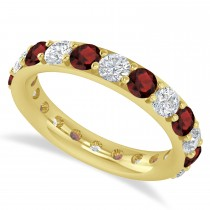 Diamond & Garnet Eternity Wedding Band 14k Yellow Gold (2.50ct)