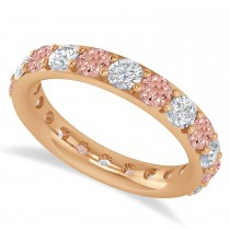 Diamond & Morganite Eternity Wedding Band 14k Rose Gold (2.50ct)