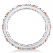 Diamond & Morganite Eternity Wedding Band 14k White Gold (2.50ct)