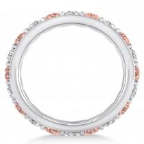 Diamond & Morganite Eternity Wedding Band 14k White Gold (2.50ct)|escape