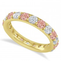 Diamond & Morganite Eternity Wedding Band 14k Yellow Gold (2.50ct)