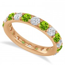 Diamond & Peridot Eternity Wedding Band 14k Rose Gold (2.50ct)