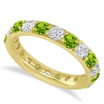 Diamond & Peridot Eternity Wedding Band 14k Yellow Gold (2.50ct)