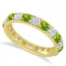 Diamond & Peridot Eternity Wedding Band 14k Yellow Gold (2.50ct)