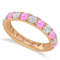 Diamond & Pink Sapphire Eternity Wedding Band 14k Rose Gold (2.50ct)