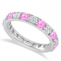 Diamond & Pink Sapphire Eternity Wedding Band 14k White Gold (2.50ct)